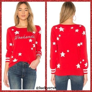 Chaser EUC Red & White Star Weekends Sweater Sz S